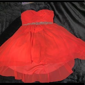 Strapless neon coral beautiful dancing dress!